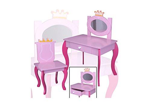 Kinder Schminktisch pink aus Holz Prinzessin ECHTER Spiegel  Stuhl