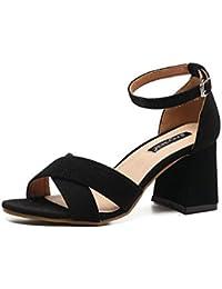 OL X-belt 7 cm Scrub Chunky alto talón abierto dedo del pie elegante moda casual sandalias UE tamaño 35-39 , black , 35