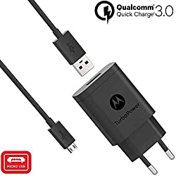 Motorola SC52 TurboPower 18, 18W QC3.0-Wandladegerät mit Micro-USB-Kabel SKN6461A für Moto G5 Plus, G5S, G5S Plus, E5 Plus, G6 Play [Nicht für G6 oder G6 Plus] Verpackung