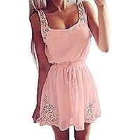 SommerKleid FORH Damen Sexy Ärmelloses Halter ChiffonKleid Elegant Einfarbig Party Abendkleid MiniKleid Casual Freizeitkleid Cocktailkleid Spitzenkleid Knielang