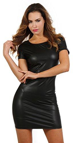Wetlook Minikleid Partykleid Clubwear Lederlook Damen kleid mit Kurzarm und Zweiwege-Reißverschluss...