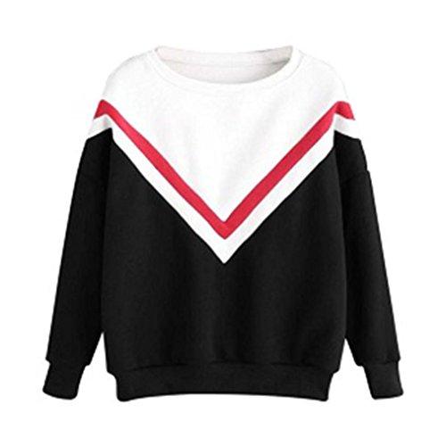 Sudadera Mujer, ❤️Xinan Camiseta de manga larga con apliques bordados para mujer Sudaderas con capucha Blusa rosa Jersey Blusa de patchwork casual para mujer (S, ❤️Negro)