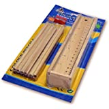 Raity's Wooden Pencil Set | Box With 12 Different Crayon Colour Pencils | Scale (Ruler) And Wooden Sharpener Pencil Box For Architect | Artist | Kids | Designer Case