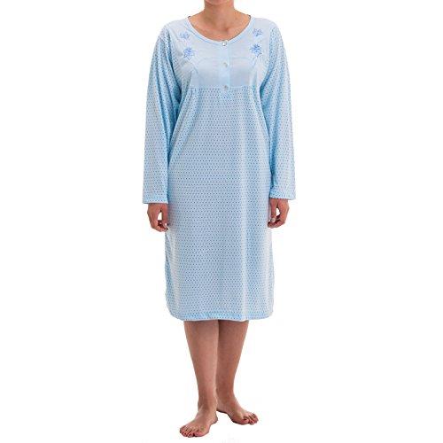 Zeitlos - Damen Nachthemd Fiona Langarm Schlafshirt Blumen Punkte, Farbe:hellblau, Größe:2XL -