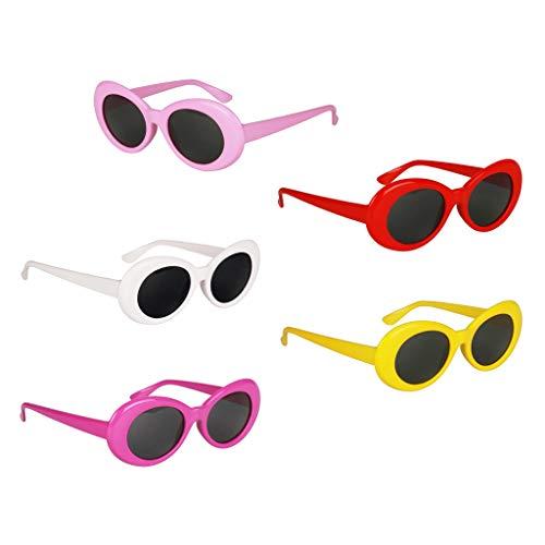Hellery 5er Pack Unisex Sonnenbrille Punk Retro Ovale Gläser Kunststoff Rahmen