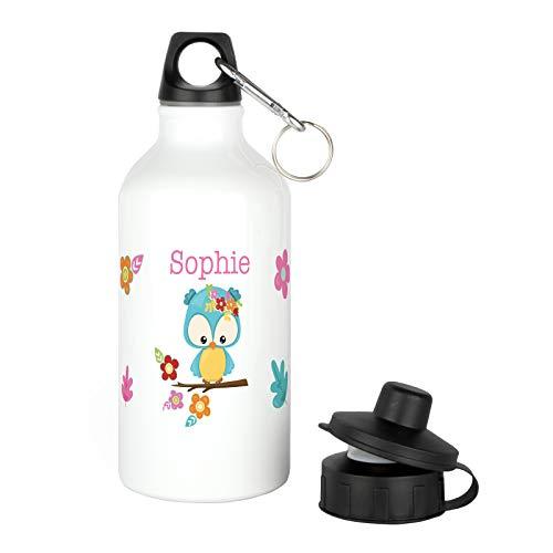 Kinder Trinkflasche mit Wunsch-Namen aus Aluminium in weiß für Schulanfang, Schule, Kindergarten für Mädchen (Eule Thermo Becher)