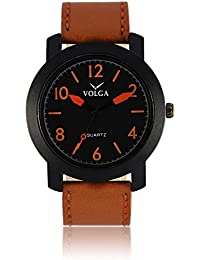 Xurious Enterprise Round Dial Analogue Black Dial Brown Leather Strape Fashion Wrist Watch For Men & Boys | XE_VL...