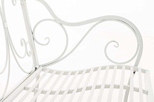 CLP Eisen Gartenbank YAMA, 2-Sitzer, Landhaus-Stil, Design nostalgisch antik Weiß - 4