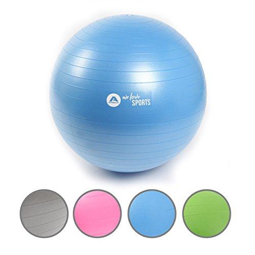 Bola de gimnasia anti-explosión de la marca Apollo, pelota de fitness robusta para sentarse con pompa - pelota para asiento cuidando la espalda para la oficina - bola de yoga para el ejercicio workout - ø 65 cm - en azul