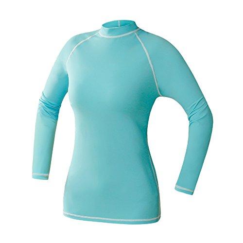 Pinmei da donna Rash Guard protezione solare Surf Swiming shirt-light Blu a maniche lunghe e Ciano Shortsleeve per la selezione, Light Blue, Long Sleeve,