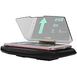"""KKmoon 6.5"""" HUD Head Up Display Coche Porta Soporte Antideslizante Telefono GPS HD Reflector de Imagen,Rotable 360 Grados"""