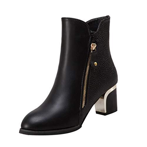 Botines de tacón Ancho de para Mujer Otoño Invierno 2018 Moda PAOLIAN Botas bajo Chelsea de Cuero Zapatos de Punta Señora Calzado Piel de Serpiente Dama Botas Martin Talla Grande