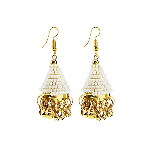Luxaim Stylish Designer Gold Plated Dangle Drop Earrings for Girls, Women, Ladies with Dazzling White Moti Golden Ethnic Traditional Jhumka/Jhumki Dangle Earrings New Party Wear Fancy Special Fashion Wedding Collection Accessories Design at Low Price Cost Great for Jewellery Diwali Festival Gift for Girlfriend & Sister  available at amazon for Rs.249