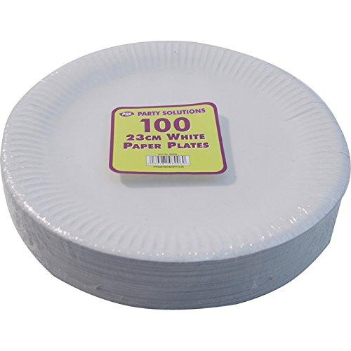 Party & Paper Solutions 100 Platos Blancos de Papel – 23 cm de Calidad Platos duraderos Ideales para Alimentos Fríos y Calientes.