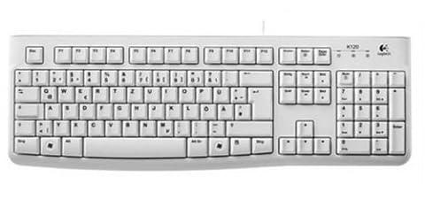 Logitech Keyboard K120 Clavier filaire Port USB QWERTZ (import Allemagne) - Blanc