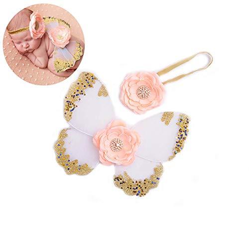 hildren Butterfly Wings Kostüm Neugeborenes Baby-Foto-Props DIY Butterfly Wings Glitzer Fee Kostüm Mädchen-Haar-Accessoires (weiß) ()