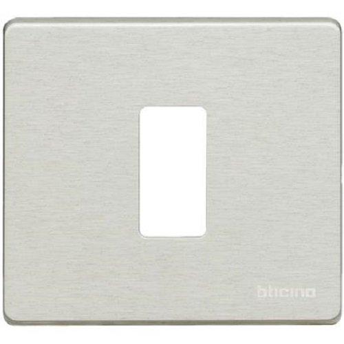 BTicino 500/1/X Magic Placca per Scatola Tonda, 1 Posto, Alluminio Oxidal, Argento