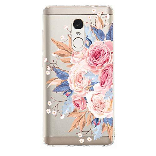 Miagon Transparent Handyhülle für Xiaomi Redmi Note 4X,Silikon Hülle für Xiaomi Redmi Note 4X, Schön Kreativ Rosa Rose Blume Muster Weiche Silikon Schutzhülle für Xiaomi Redmi Note 4X