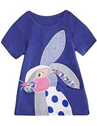 PinkLu Pascua Niñas Manga Corta Gato Mariposa Conejo Animal Patrón de Dibujos Animados Arriba Ropa(