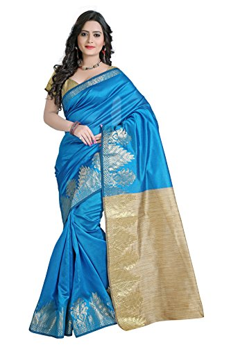 e-VASTRAM Women Dupion Cotton Silk Saree (DSB-7, Blue)