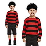 Childrens Dennis The Menace Costume: Red & Black Jumper with Black Spiky Wig