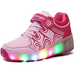 SGoodshoes LED Zapatillas Deporte Patín Ruedas Luminoso Formadores Flying Niños LED con un adulto Rueda Intermitente Zapatos
