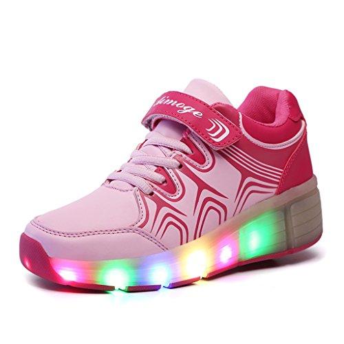SGoodshoes Kinder Herren Damen LED Leuchtet Sneakers mit einem Cooly Roller Skateboard Schuhe Sport Turnschuhe ohne USB Rosa