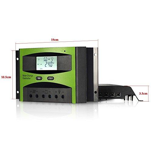 KKmoon 30A 12V/24V Solar Laderegler PWM Aufladung Temperatur Kompensation Überladung Schutz LCD Display für netzunabhängige Solaranlage - 3
