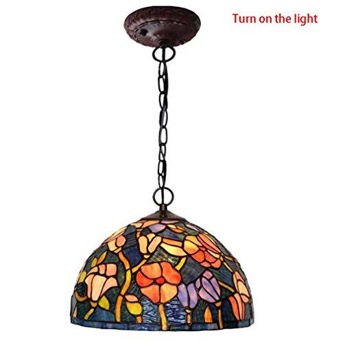 12-Zoll-Tiffany-Stil Pendelleuchte, Art-Deco-Wohnzimmer Korridor Leuchten Decke, Glasmalerei Kapok Muster Pendelleuchte Schatten & Metallkette -