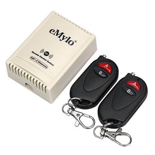 emylo® DC 24V 2Kanal 433MHz Funk-Fernbedienung Schalter RF Relais Empfänger mit Sender