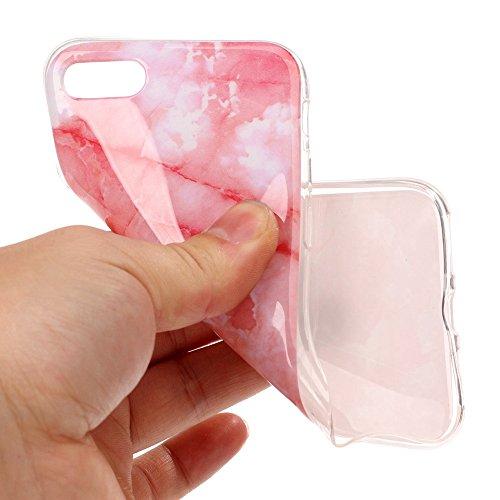 "MOONCASE iPhone 7 Hülle, [Colorful Marble Pattern] Ultra Slim TPU Anti-Kratzer Stoßfest Schutztasche Case für iPhone 7 4.7"" Colorful Hotpink"