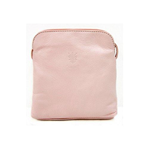 Vera Pelle Italiana Piccolo e morbido Croce Corpo Borsa a tracolla, Light Coffee (marrone) - PS49 Baby Pink