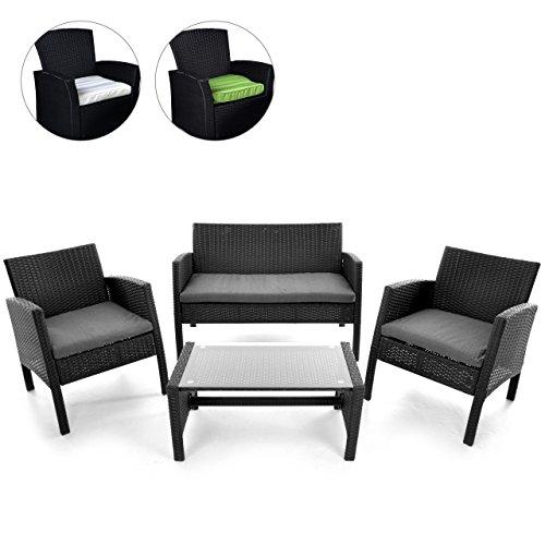 Rattanset 4tlg Sitzecke mit Tisch mit 2 Sessel und 1 Sofa Garnitur Sitzgruppe Polster grau Terrasse Gartenmöbel Poly Rattan Sicherheitsglas Lounge In/Outdoor 4-Sitzer 4-teilig
