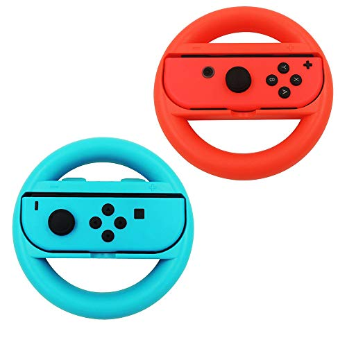 Nintendo Switch Mario Kart 8 Deluxe Lenkrad Joy-Con Racing Wheel Steering Wheel Controller Griffe für Nintendo Switch Mario Kart Racing Spiel Zubehör(Rot und Blau) (Racing 8 Kart Wheel Mario)