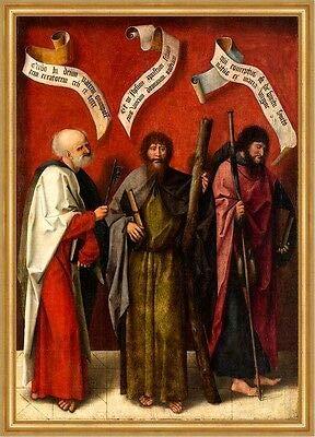 Kunstdruck Die Apostel Petrus Andreas und Jacob Maior Pilgerstab Schlüssel Sankt A1 0020