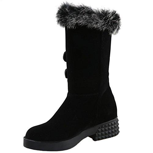 HooH Femmes Bottes de neige Fourrure de lapin Hiver Chaleureux Plein fausse fourrure Doublure mi-mollet Bottes Slip On Noir