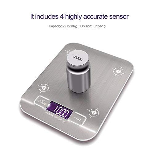 Báscula digital de cocina de acero inoxidable, unidad: g oz ml, 10 kg y 5 kg especificaciones de carga para cocinar herramientas de medición para hornear (Color : Metallic, Size : Load bearing5kg)