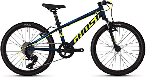 Ghost Kato 2.0 AL U 20R Kinder Mountain Bike 2019 (20 Zoll, Night Blue/Neon Yellow/Riot Blue)