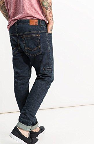 H.I.S Elliot Jeans in Tapered Fit für Herren / Dunkle Blue Jeans in angesagtem Used Look und moderner Passform / Coole Jeans in Größe Blau (Greatest Blue Black Wash 9724)