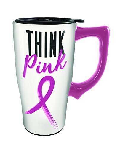 Spoontiques 12794 Think Pink Ceramic Travel Mug, White