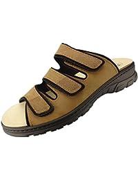 Algemare Zehentrenner Wechselfußbett Sandale Sandalette Damen Schuhe Schwarz #
