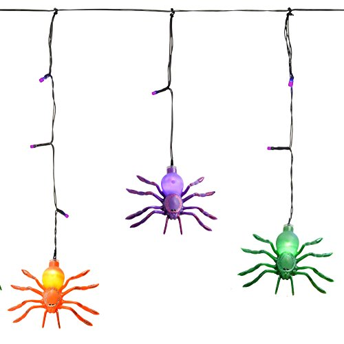 WeRHalloween Spider Icicle Lights with Timer, Halloween Decoration, 36 LED Lights - Multi-Colour