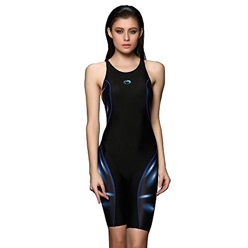 PHINIKISS Damen mit längerem Bein Bademode Sport Badeanzug Legsuit Schwimmanzug