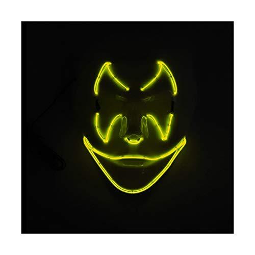 YOIO LED-Maske Fledermaus-Smiley-Geburtstags-Party-Party EL Kaltlicht-Strahlenmaske, gelb