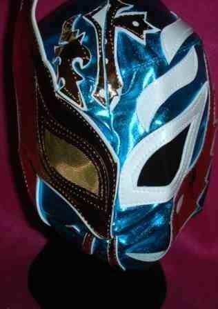 REY MYSTERIO SIN CARA MASKE BLAU HALB HALB STYLE WWE WRESTLING KOSTÜM VERKLEIDEN OUTFIT ANZUG RAY KIND KINDER (Sin Cara Kostüm Blau)