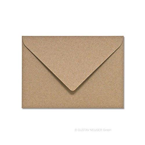 50 Stück // Umschläge, Recycling – Naturfarbe braun, DIN B6 125 x 176 (100% naturbelassenes Material – FSC-zertifiziert)