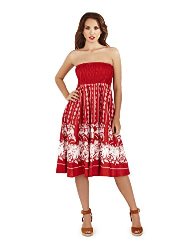 Pistache, 2 en 1 coton été vacances robe de dames Rouge 2
