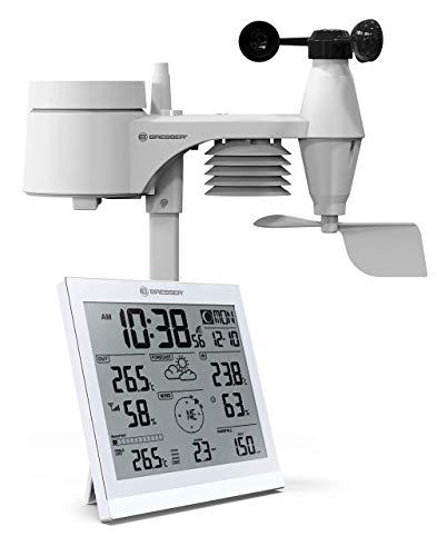 Bresser Wetterstation Funk mit Außensensor XXL Wetter Center JC mit 5-in-1 Außensensor für Temperatur, Luftfeuchtigkeit, Wind, Luftdruck und Niederschlag (Regenmesser)