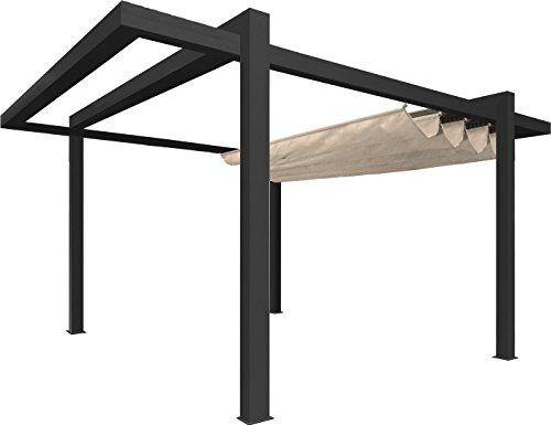 Pergola toile et aluminium Grandlux autoportée - 5x3m - Gris toile Beige