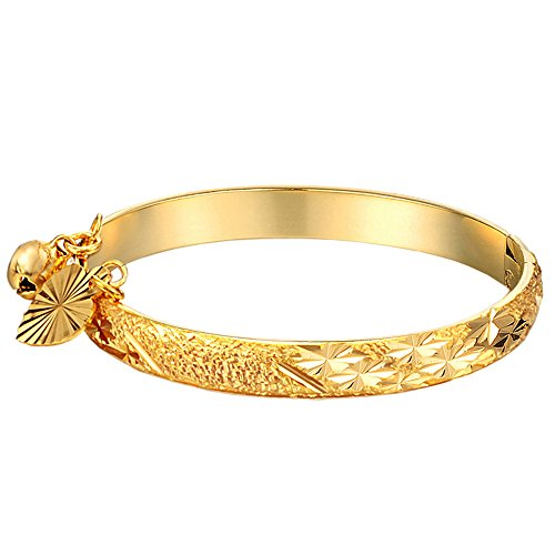 UM Schmuck Gold S?ugling Charms Armband Armreif Neu Geboren Baby mit Herz Blatt,Glocke 13.5cm (Baby Charm Gold)